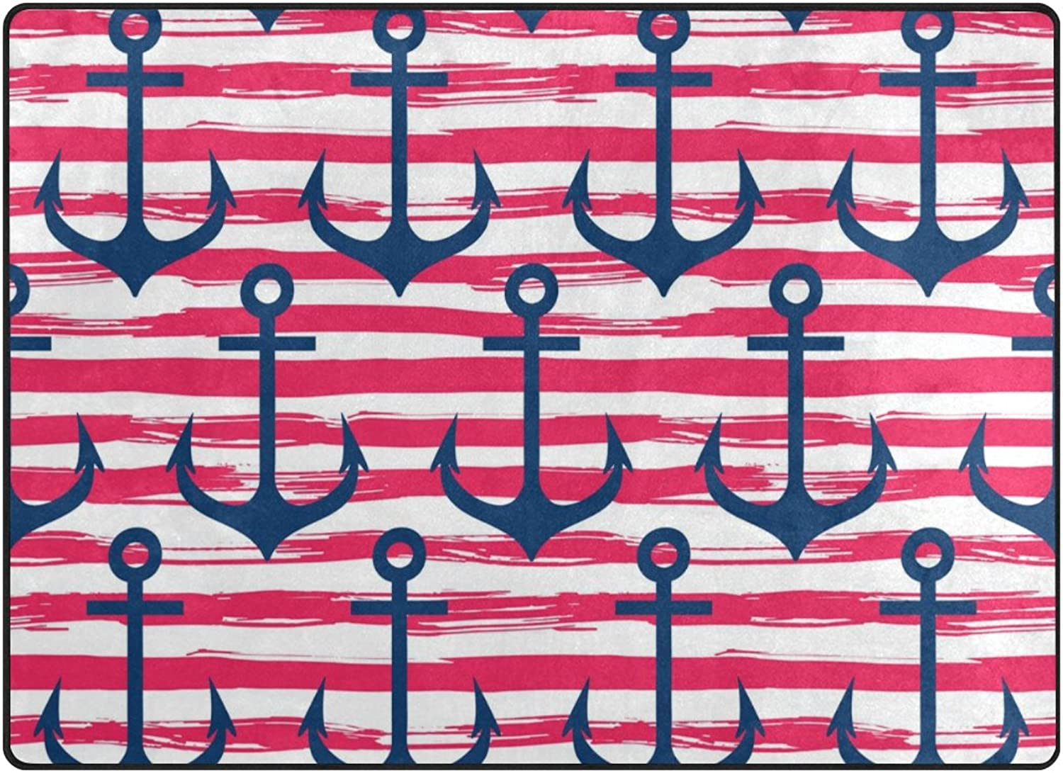 SUABO Anchor On Striped Background Area Rug Rugs Non-Slip Floor Mat Doormats Living Room Bedroom 80 x 58 inches