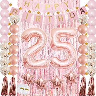 25th Birthday Decorations|25th Birthday Party Supplies Rose Gold-Confetti Latex Balloon,Tassel Garland,Tinsel Foil Fringe Curtains,Happy Birthday Banner as Gift, Favors,Photo Booth Props for Women,Men