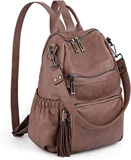 UTO Women Backpack Purse PU Washed Leather Convertible Ladies Rucksack Tassel Zipper Pocket Shoulder Bag brown Size: Large