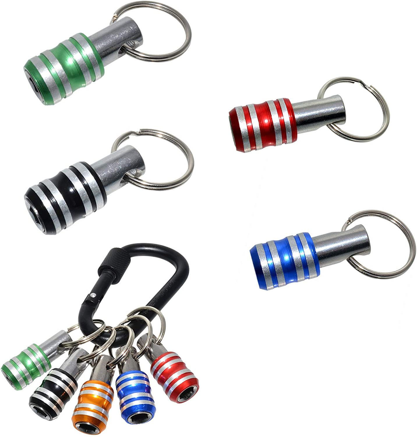 Famcry 1//4 Inch Hex Shank Screwdriver Bits Holder Extension Bar Drill Screw Adapter Quick Release Easy Change Keychain