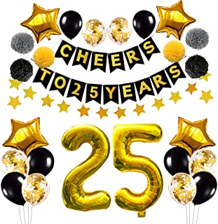 Succris 25th Birthday Decorations Balloons,25th Anniversary Party Decorations,Black Gold Cheers to 25 Years Banner, Gold Star Banner 4m, Confetti &Latex Balloons, Gold Star Balloons 18inch