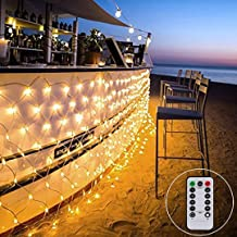 Net String Light Outdoor Fairy String Light Tree Mesh Light 9.8ft x 6.6ft 200LED 8Mode for Tree-wrap Lawn Party backyard Garden light with Remote Controll Connectable(Warm White)