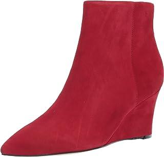 Nine West Women's Carter Wedge Booties Ankle Boot, medium red, 7