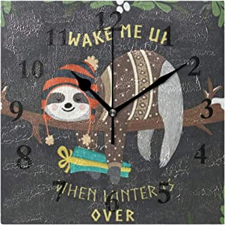 FunnyCustom Cartoon Sloth in Flowers Jungle (2) Square Wall Clock 7.8 Inch Hanging Clock for Living Room/Kitchen/Bedroom