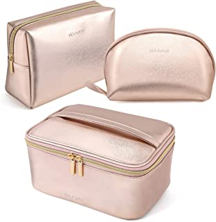 MAANGE 3 Pcs Makeup Bag Portable Travel Cosmetic Bag Large Makeup Bag Organizer with Gold Zipper Waterproof Toiletry Bags ...