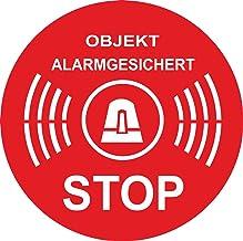 Indigos UG - Sticker object alarm beveiligd rond 50x50 mm ø 50 mm rood - veiligheid - kantoor, bedrijf, winkelhuis, hotel,...
