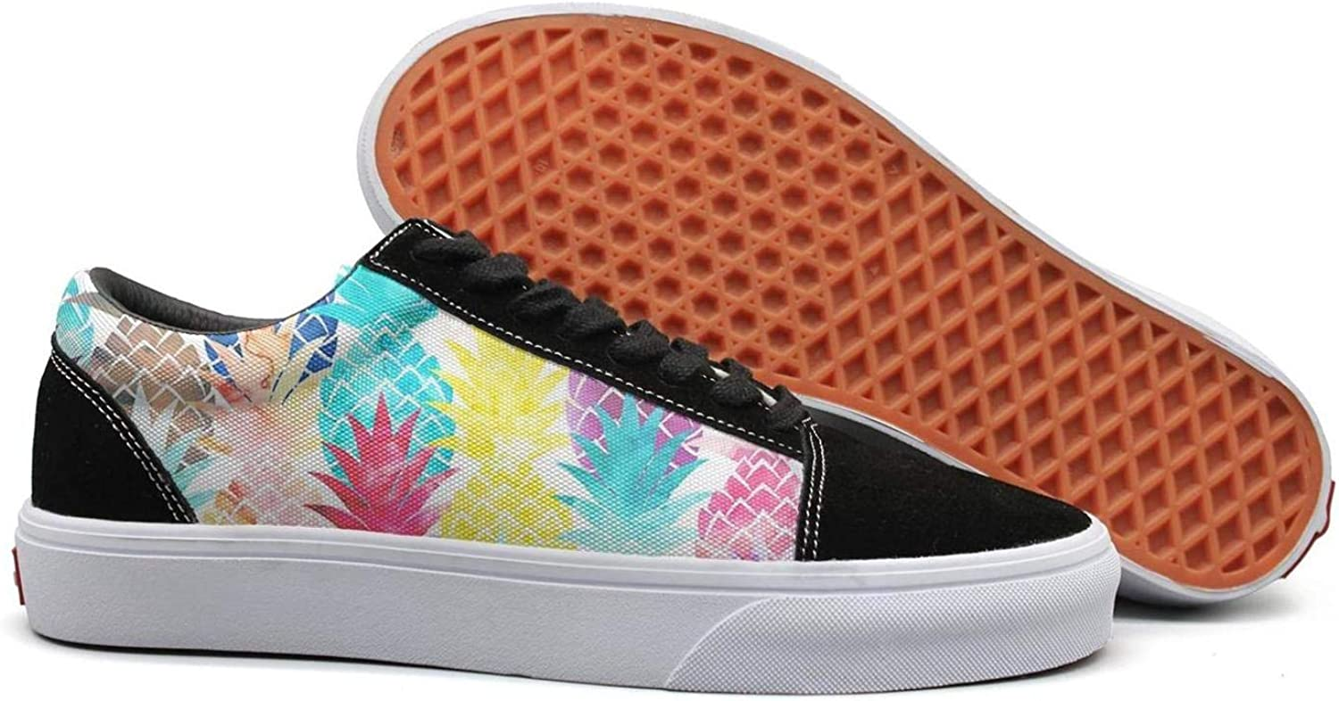 Uieort Hawaiian Pineapple Pattern Tropical Watercolor Womens Lace up Sneakers shoes Comfortable