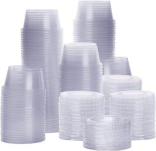 [200 مجموعة – 59.14 مل] أكواب صغيرة بلاستيكية بغطاء وأكواب سوفليه وأكواب صغيرة من جيلا، حاويات صلصة التوابل
