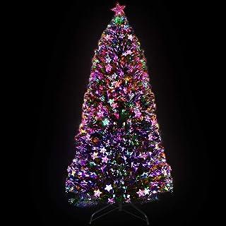 6FT Christmas Tree 1.8M Pre-lit Optic Fibre Xmas Faux Tree Multi-Colour Lighting Effect Jingle Jollys Holiday Decoration I...