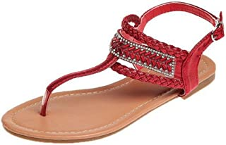 Woman Summer Flat Sandals Ladies Shiny Footwear Women Flip Thong Flats Shoes Girl Zapatos Mujer Sling Back Bohemia Woven Red 7