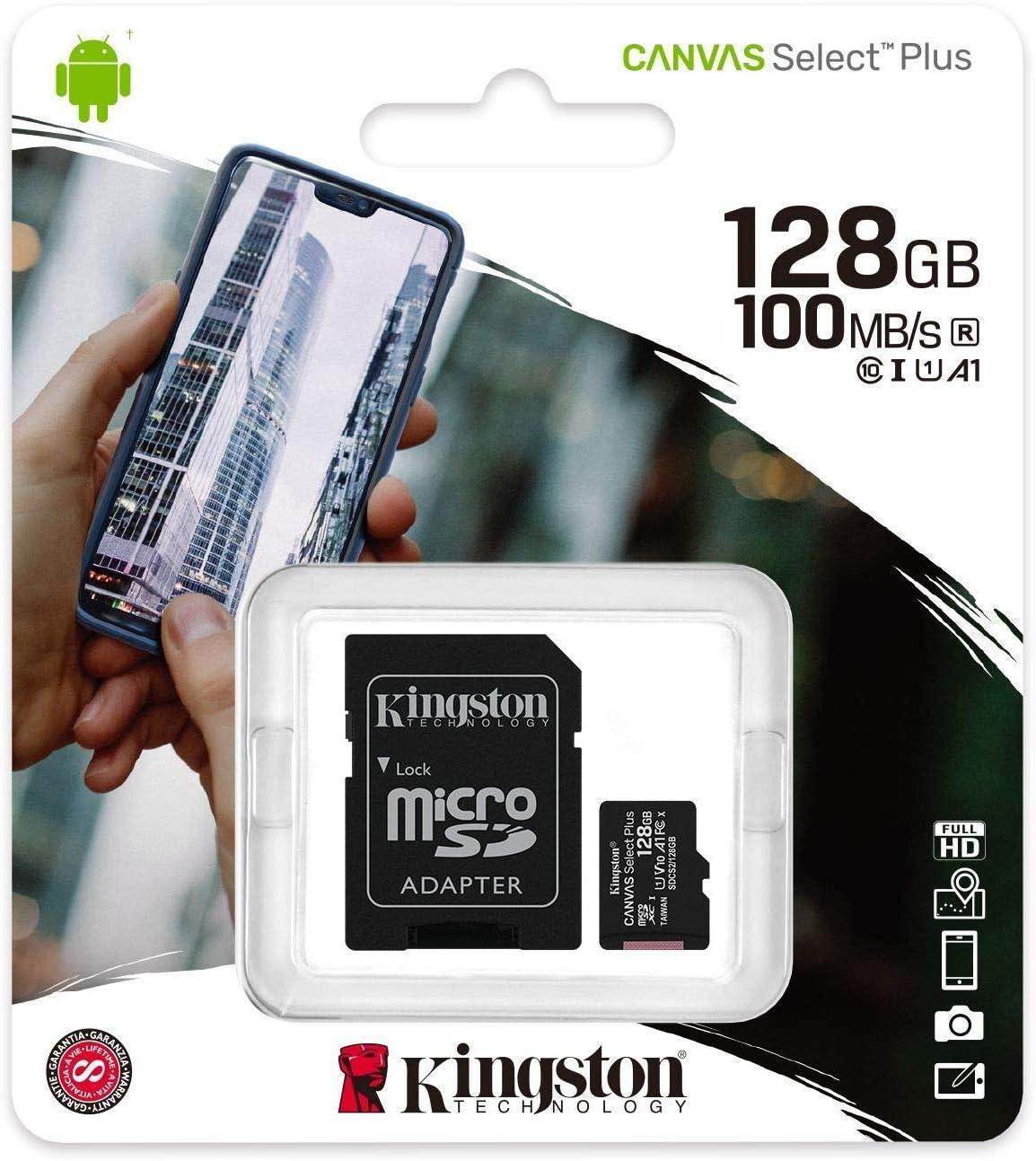 Kingston Canvas Select 128GB MicroSD XC Class 10 Memory Card UHS-I TF 80MB/s SDCS2/128GB with Dual Slot MemoryMarket MicroSD & SD Memory Card Reader