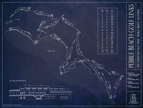 "Pebble Beach Golf Links Blueprint Style Print (Unframed, 18"" H x 24"" W)"