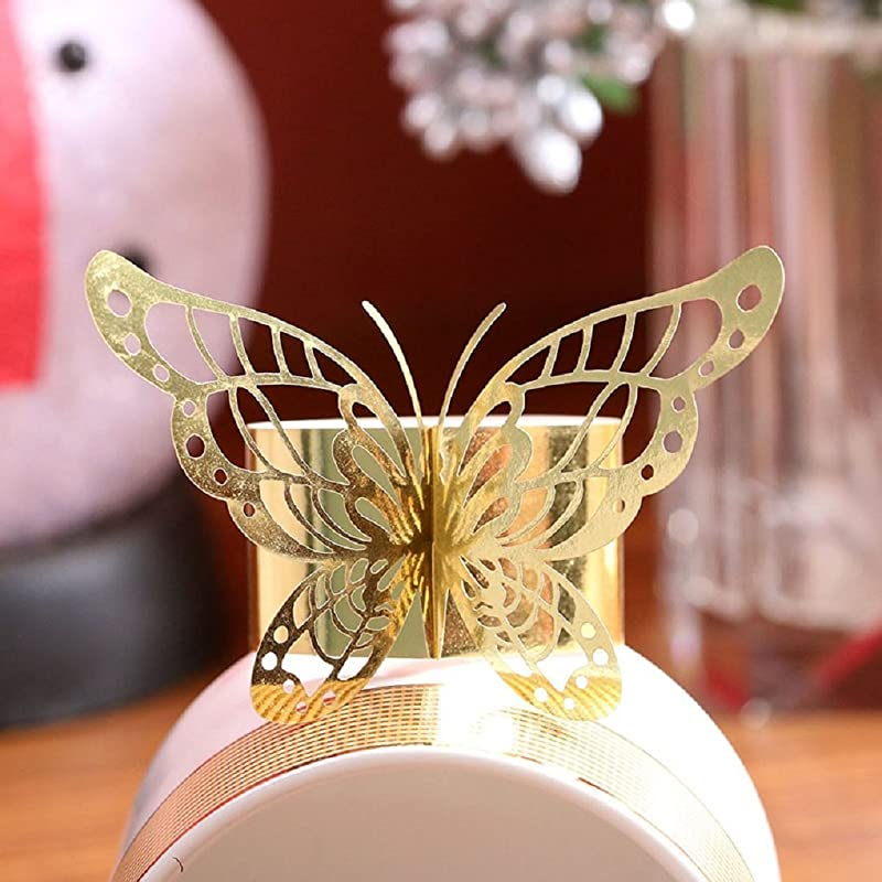 Set Of 50 Laser Cut Purple Butterfly Paper Napkin Rings Holders Favors And Gifts Party Wedding Invitations Decor Gold
