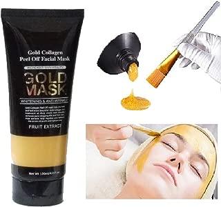 Gold Mask Facial Brush Applicator Kit ( 24k ) Gold Collagen Peel Off Deep Cleansing Anti-Wrinkle Brightening Moisturizing Face Nose Mask Pore Clogging Dirt Remover Regulate Excess Oil Tighten Up Skin
