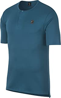 Teal Men's Small Henley Short Sleeve T-Shirt Blue S