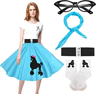 QNPRT 50s Poodle Skirt for Womens,50's Outfit Poodle Skirt Costume,Bobby Socks for Vintage Rockabilly Swing Tee Cocktail Dress