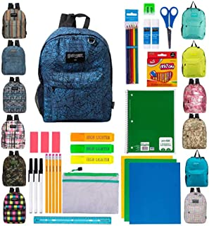 "17"" Bulk Backpacks with 39 Piece School Supply Kits - Case of 12 Wholesale Backpacks and Kits in 8 to 12 Prints and Colors"