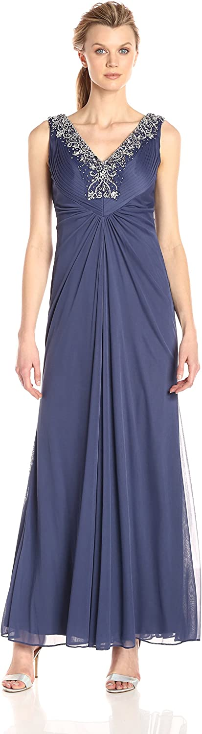 Alex Evenings Womens Long Sleeveless Aline Dress with Beaded Neckline Dress