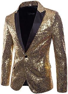 HX fashion Mardi Gras Party Fancy Charm Festival Accessories Men Casual Comfortable Sizes One Button Fit Suit Blazer Coat ...