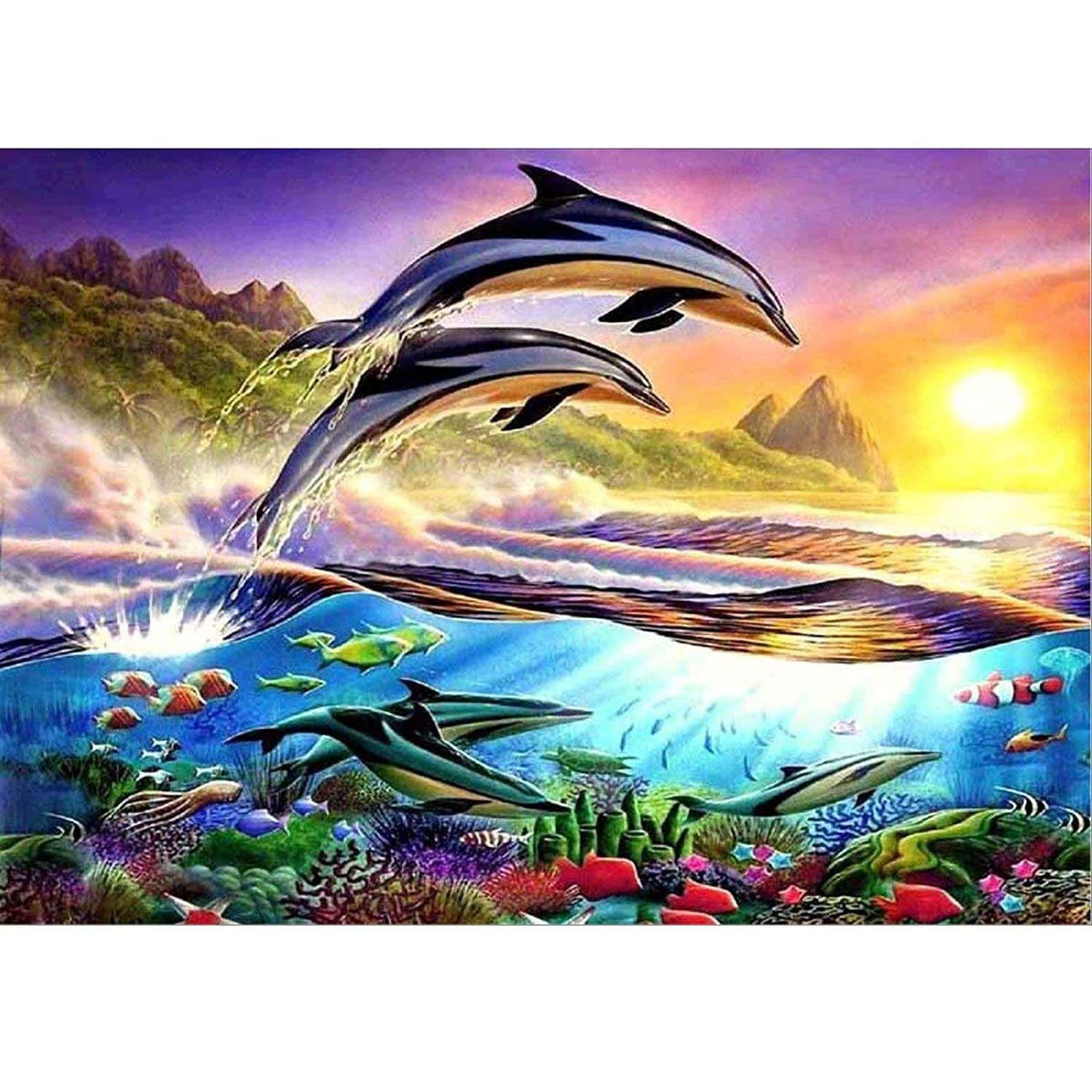 DIY Diamond Painting Kits for Adults, Jumping Dolphin Full Drill Rhinestone Embroidery Cross Stitch Supply Arts Craft Canvas Wall Decor 11.8x15.8 inch