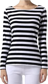 OUGES Women's Long Sleeve Stripe Pattern T-Shirts Slim Fit