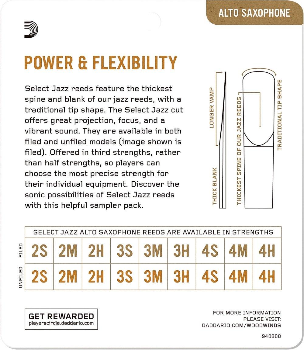 2M//2H D/'Addario Woodwinds DAddario Select Jazz Alto Saxophone Reed Sampler Pack DSJ-J2M