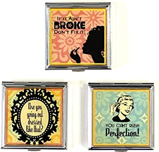 """3 Retro Funny Double Sided Compact Mirror Humorous & Snarky Sassy Sayings Travel Pocket & Purse Mirror """"If ain't Broke Do..."""