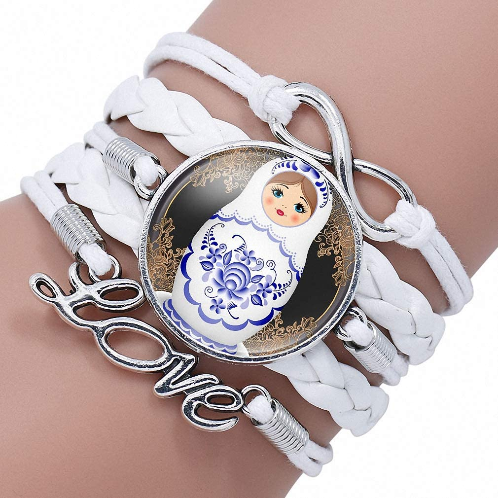 cabochon silver blue,. woman mother/'s day Christmas Bracelet matryoshka Russian doll ethnic glass color jewelry vintage pattern