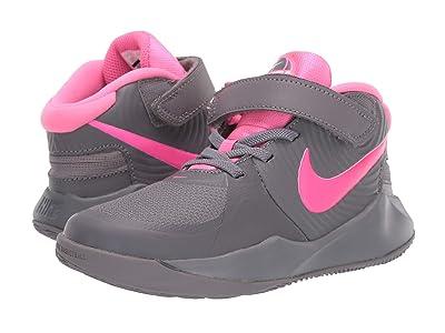 Nike Kids FlyEase Team Hustle D9 (Little Kid) (Gunsmoke/Pink Blast/White) Kids Shoes