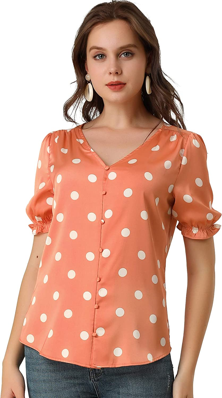 Allegra K Women's Summer V Neck Polka Dots Button Front Short Sleeve Satin Blouse Top
