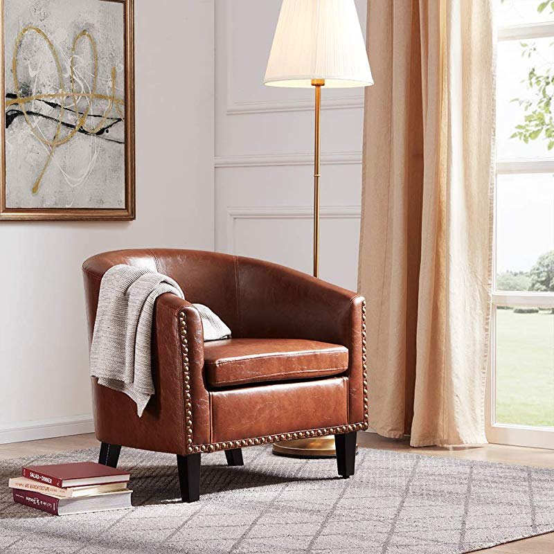 Belleze Modern Upholstered Arm Club Chair Faux Leather With Nailhead Tub Barrel Style Brown