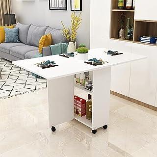 VBARV Table de Salle à Manger Pliante Mobile, Table de Salle à Manger Extensible multifonctionnelle, Conception à Bords Ro...