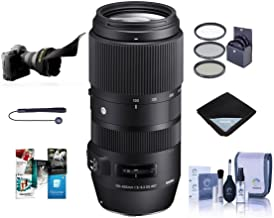 Sigma 100-400mm F5-6.3 DG OS HSM Lens for Nikon DSLR Cameras - Bundle with 67mm Filter Kit, Lens Wrap, Flex Lens Shade, Cleaning Kit, Capleash II, Software Package,