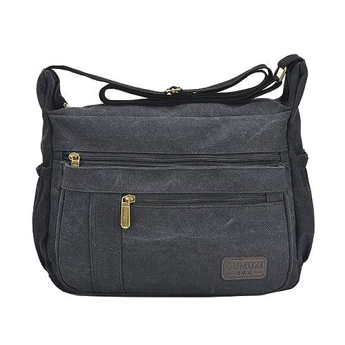Fabuxry Light Weight Canvas Shoulder Bag for Women Messenger Handbags Cross  Body Multi Zipper Pockets Bag dcd0fd7a9917d