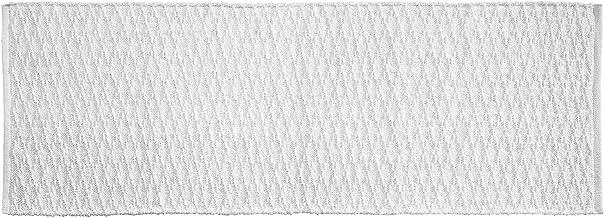 """mDesign Bathroom Cotton Rectangular Rug, Long Runner, 60"""" x 21"""", Cotton, White, Pack of 1"""