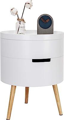WOLTU TS50ws-1 Table de Chevet Table Basse avec 2 Compartiment de Rangement Plateau en MDF, 38x38x51cm, Blanc
