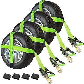 VULCAN Adjustable Loop Car Tie Downs with Snap Hook, 4 Pack - High-Viz - 3,300 Pound Safe Working Load