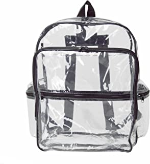"""ProEquip Large Clear Transparent PVC Multi-pockets School Backpack/Outdoor Backpack/Heavy Duty Backpack/Durable Vinyl Completely See Through Daypack 17"""" Bookbag"""