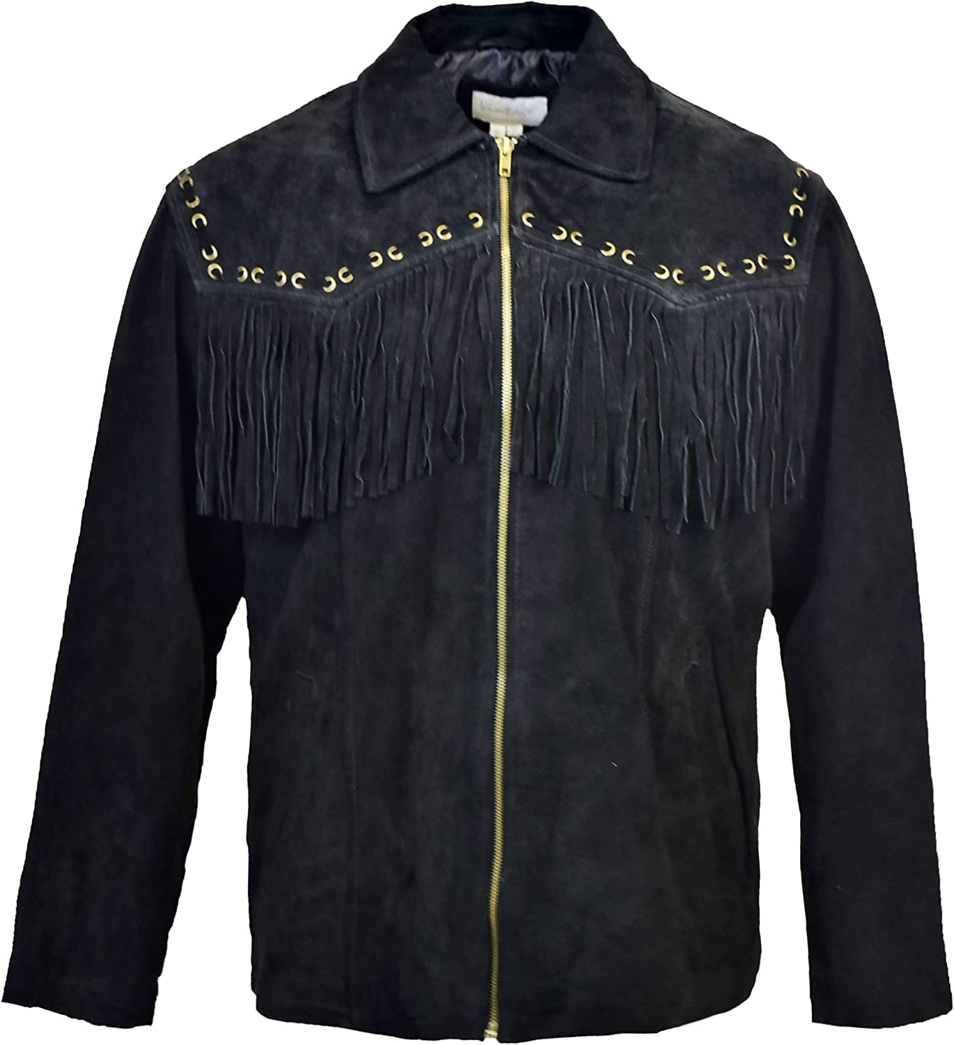 Victory Outfitters Men's Genuine Suede Fringe Zip Up Jacket