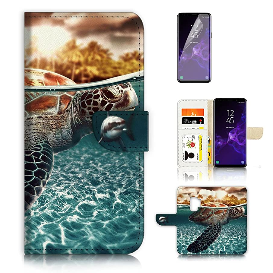 ( For Samsung S9+ / Galaxy S9 Plus ) Flip Wallet Case Cover & Screen Protector Bundle - A3247 Turtle