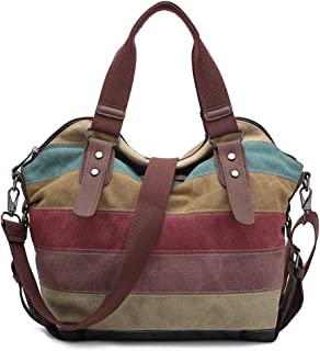 KAUKKO Stylish Women's Canvas Striped Tote Shoulder Bag