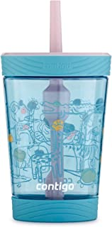 Contigo 2063332 儿童玻璃杯 防漏吸管 14 盎司(约 396.7 毫升) Agave Birthday Cake with Zoo Animals, Spill-Proof