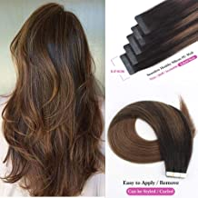 Sassina Tape in Human Hair Extensions 50 Grams 20 Pieces Double Sided Reusable Glue in Skin Wefts Two Tone Color Balayage Dark Brown 2 Fading to Chestnut Brown 6 (B2-6 18 Inch)