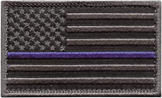 USA American Flag 2x3.25 Subdued Thin Blue Line Stars and Stripes Tactical Morale Fastener Cap Patch