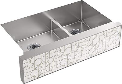 Kohler K 22570 Na Tailor Stainless Steel 35 1 2 X 21 1 4 Undermount Double Bowl Sink Customizable Apron Front Farmhouse Sink Amazon Com