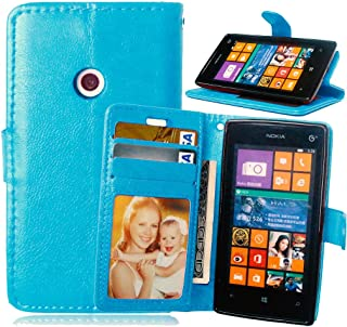 TOMYOU Funda de piel para Lumia 520 525, [Cable Libre] Premium en Dorado PU Cuero Funda Folio Carcasa, PU Billetera Folio Carcasa para Nokia Microsoft Lumia 520 525 (azul)