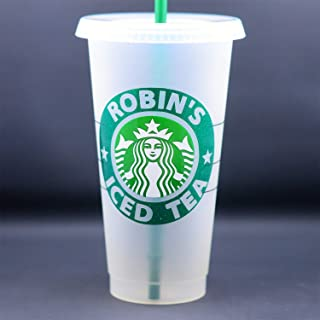 Authentic Personalized Reusable Starbucks Coffee Cup Frosted Venti 24 oz To Go Cup Tumbler Glitter or Matte with Name
