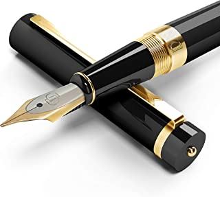 Dryden Designs Fountain Pen Medium Nib, Includes Gift Pouch and Ink Refill Converter, Classic Writing Tool [Intense Black]...
