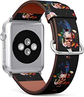 (Floral Skull and Crow Pattern) Patterned Leather Wristband Strap for Apple Watch Series 4/3/2/1 gen,Replacement for iWatch 38mm / 40mm Bands