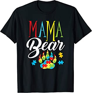 Autism Mama Bear Paw Puzzle Piece Child Womens Autistic T-Shirt